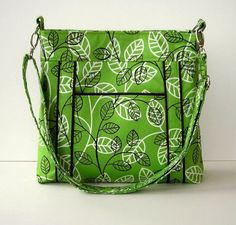 Apple Green and White Fabric Messenger Bag  Green by PWOriginals