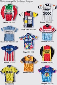 The fabric of cycling: A look at the peloton's most iconic jerseys (video) - Cycling Weekly Eleven unforgettable pro cycling jerseys.A look at the peloton's most… Cycling Art, Cycling Jerseys, Cycling Shorts, Cycling Outfit, Cycling Clothes, 7 Eleven, Bape, Peugeot, Cycling Weekly