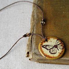 Monarch handmade ceramic necklace