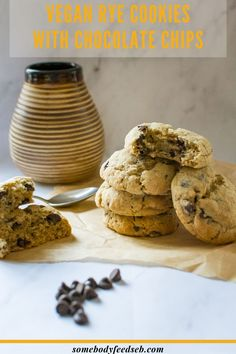 Who doesn't like Chocolate Chip Cookies? We made ours with dairy-free butter and dark chocolate chips to make them suitable for Vegans, but they taste just as good as the ones made with real butter. We also substituted the usual white wheat flour with medium rye for the deeper earthier flavour! So if you're after something slightly different, try our Vegan Rye Chocolate Chip Cookies! #ryeflourrecipes #vegancookies #veganchocolatechipcookies Vegan Dark Chocolate, Vegan Chocolate Chip Cookies, Easy Vegan Cookies, Cookie Recipes, Vegan Recipes, No Flour Cookies, Cookie Calories, Baking Flour, Vegan Baking