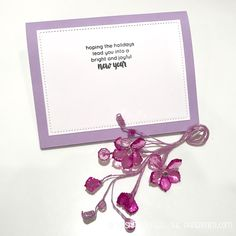 Inside of purple Holiday Bows card featuring Holiday sentiments from Altenew.