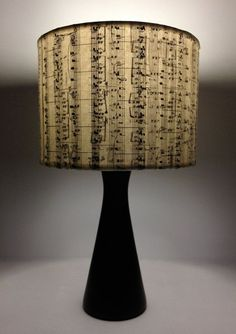 Music Stripes : Vintage songbook lamp shades or pendants -  Upcycled Repurposed charm. Would be cool for piano room? Be we could make our own somehow....