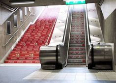 """Subway Station Coke Ad -- Diet Coke - Take the Escalator; Regular Coke - Take the Stairs"""