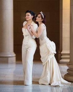 Loving both these looks. Corset pantsuit especially Lgbt Wedding, Wedding Suits, Wedding Attire, Wedding Dresses, Wedding Corset, Custom Wedding Dress, Steampunk Wedding, Tomboy Wedding Dress, Lesbian Wedding Photography