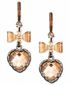 Betsey Johnson Rose Gold-Tone Heart Earrings - All Fashion Jewelry - Jewelry & Watches - Macy's
