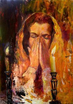 shabbat-pray-sylva-zalmanson Jewish Sabbath, Shabbat Shalom Images, Good Shabbos, Arte Judaica, Prophetic Art, Shabbat Candles, Sabbats, Jewish Art, Stone Painting