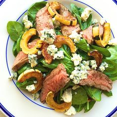 Steak Salad with Spinach, Delicata Squash, and Blue Cheese