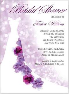 Watercolor Purple Cartoon Wedding Gowns Bridal Shower Invitations for sale Wedding Shower Invitations, Party Invitations, Romantic Things, Glitter Background, Response Cards, Invitation Cards, Wedding Gowns, Purple, Watercolor