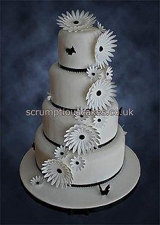 Wedding Cake (820) - Black & White Gerberas by Scrumptious Cakes (Paula-Jane), via Flickr