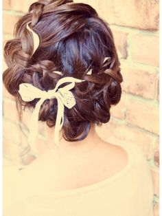 編み込みリボンアレンジ♪結婚式、2次会に♪♪L/hair coucou クークーをご紹介。2014年秋冬の最新ヘアスタイルを20万点以上掲載!ミディアム、ショート、ボブなど豊富な条件でヘアスタイル・髪型・アレンジをチェック。
