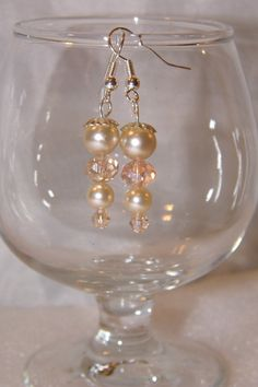 off white pearl drop earrings by TheEccentricBead on Etsy