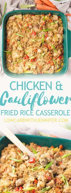 This chicken cauliflower fried rice casserole is like comfort Chinese food but without all of the carbs! This casserole is full of veggies but your kids will never know that it is cauliflower instead of white rice! Feel free to fill your plate with this l