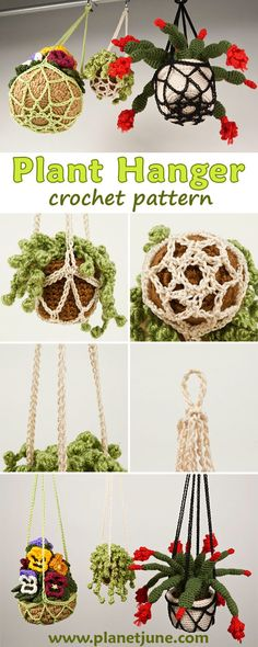 Crochet Flower Pot Holder A modern crocheted take on macrame plant hangers, this is a lovely decorative crochet plant hanger designed for holding either real or crocheted plant pots! Crochet Plant Hanger, Rope Plant Hanger, Macrame Plant Hangers, Crochet Flower Patterns, Crochet Designs, Crochet Flowers, Crochet Home, Crochet Projects, Plant Pots