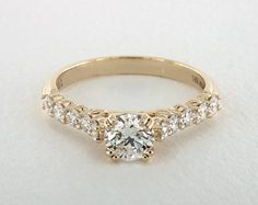 .7ct Side Stones Round Engagement Ring Yellow Gold