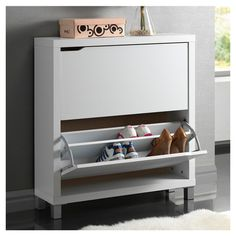 Simms Shoe Cabinet in White
