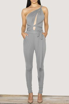Plunging Neck Solid Color Open Back Tie-Up Jumpsuit