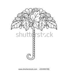 umbrella decorated with autumn leaves and abstract doodle ornaments. Hand draw vector coloring page for adult