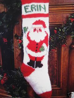 Christmas Holiday Knit Stocking Santa's Greeting Knitting Pattern Only Picture | eBay