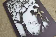 Laser Cut Wedding Invitation Rustic Wedding by FoxfordAtelier