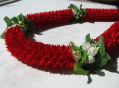 Hawaiian Ribbon Lei Red Carnation and Flowers by togetherwegrow, $28.00