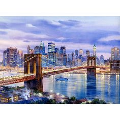 Brooklyn Bridge watercolor painting by Roustam Nour fine art giclée print for sale. This New York Art painting reproduction is printed on exhibition quality textured watercolor paper. Three sizes available of this New York artwork. Prices start from $30.00.
