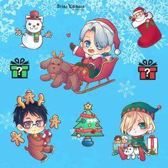 Yuri on ice Chibi sticker Raffle by arisa-chibara