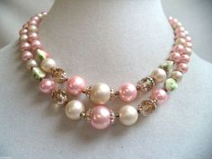 STUNNING VINTAGE ESTATE SIGNED JAPAN DOUBLE STRAND FAUX PEARL NECKLACE!!! 422N