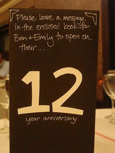 This is a really neat idea. Each table has a number so have everyone from that table leave you a note for your anniversary that year.