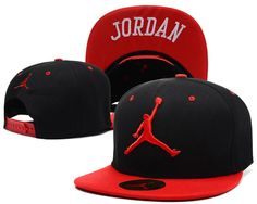 "Men's Nike Air Jordan The Red ""Jumpman"" Embroidery Logo ""Jordan"" Sports Fashion Snapback Hat - Black / Red"