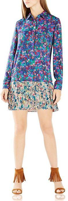 BCBGMAXAZRIA Bradyn Floral Print Shirt Dress