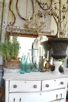 Winter Blooms Green Glass White Farmhouse Cabinet Outdoor Porch Decor Instagram Beesnburlap On The Blog At Modern
