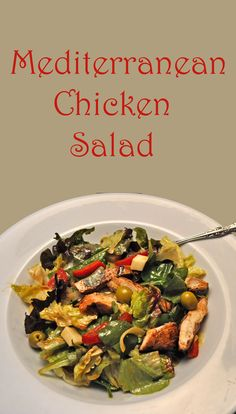 Grilled Chicken, Olives, Red Peppers, Feta and a bed of mixed greens - easy summer supper
