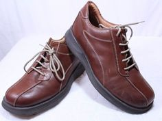 Brown Shoe Made in Italy Salerno Leather Casual Lace Up Size 9.5 M #BrownShoe #Laceupcasual