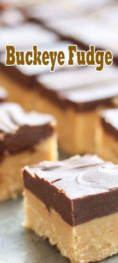 Buckeye Fudge Fudge Recipes, Candy Recipes, Cookie Recipes, Dessert Recipes, Buckeye Fudge Recipe, Oh Fudge, Summer Desserts, Holiday Desserts, Holiday Recipes