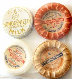 Set of 4 Vintage Milk Bottle Caps Darigold Farms, Gold Spot, Ashton Farms
