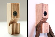 Birch plywood wallhooks set of three by MAATALO on Etsy