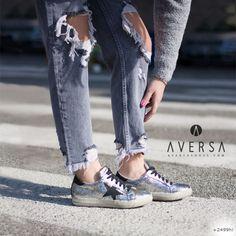 Kammi Sneakers Milano craccato argento/nero
