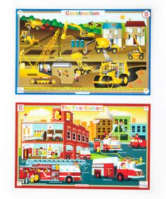Look what I found on #zulily! Construction & Fire Station Activity Place Mat Set by Tot Talk #zulilyfinds