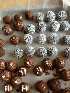 Coconut and chocolate drizzled truffles