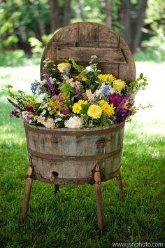 Repurposed Barrel Planter
