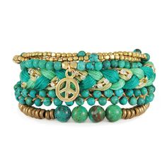 Ettika Turquoise and Gold Peace Charm Stack  #Charms #Bracelet #Turquoise