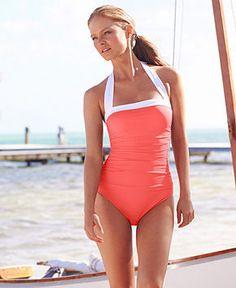 Lauren Ralph Lauren Ruched Tummy-Control Halter One-Piece Swimsuit - Swimwear - Women - Macy's