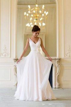 Grecian Backless Beach Wedding Dresses V Neck Flowing Vintage Boho Bridal Dress A Line Vintage Greek Goddess Wedding Gown Summer Style 2016