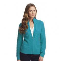 NWT Ladies Chaps Solid Cable-Knit Cardigan in Laguna Turquoise - Size XS (2) #Chaps #Cardigan