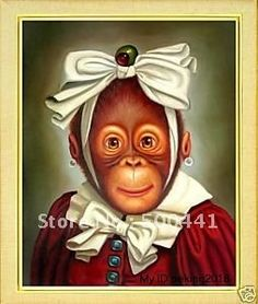 "Free shipping 100% Handpainted Art oil painting ""Monkey portrait""20x24 inch on AliExpress.com. $46.99"