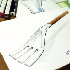Not the usual quick and dirty but last night sketch has me thinking BBQ and summer. As for the marker I prefer to use one light color marker to do all my shading only adding in grey afterward where necessary #id #sketch #industrialdesign #idsketching #idsketch #bbq #spatula #kitchendesign #notquickndirty