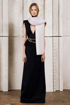 Chloé Pre-Fall 2014, v-neck peplum gown, scarf