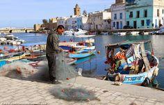 A fisherman in Bizerte, Tunisia
