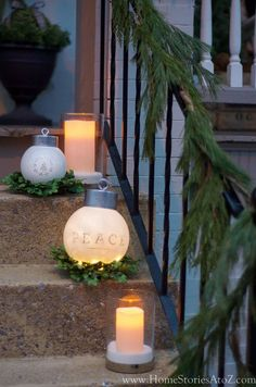 DIY Oversized Ornaments using light globes and tuna cans