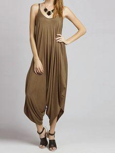 Khaki Drop Crotch Ruched Loose Cami Jumpsuit | Choies